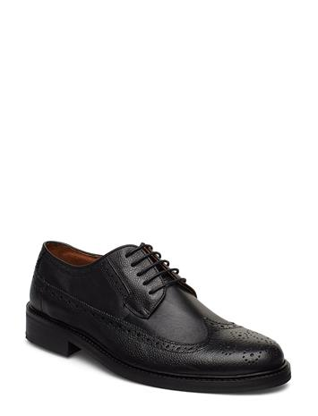 LINDBERGH Leather Brogue Oxford Shoe Shoes Business Laced Shoes Musta LINDBERGH BLACK