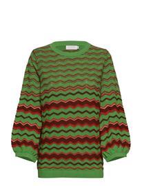 COSTER COPENHAGEN Knit In Multi Color W. Volume Sleev Neulepaita Vihreä COSTER COPENHAGEN FORREST GREEN
