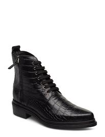 NUDE OF SCANDINAVIA Kate Shoes Boots Ankle Boots Ankle Boots Flat Heel Musta NUDE OF SCANDINAVIA COCCO/NERO