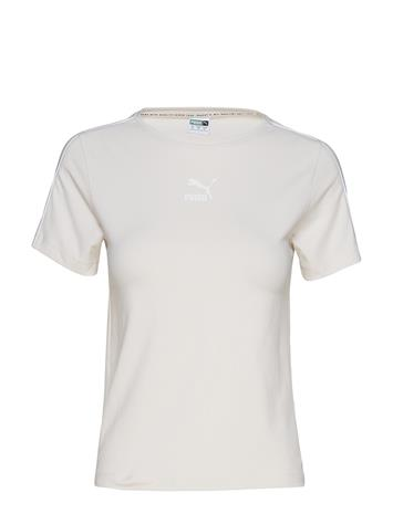 PUMA Classics Tight Top T-shirts & Tops Short-sleeved Valkoinen PUMA PASTEL PARCHMENT