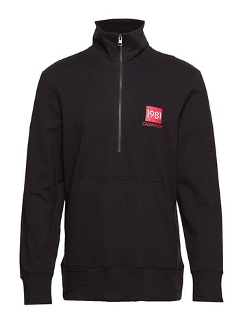 CALVIN KLEIN Half Zip Sweatshirt, Svetari Collegepaita Musta CALVIN KLEIN BLACK