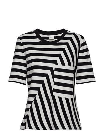 TAIFUN T-Shirt Short-Sleeve T-shirts & Tops Short-sleeved Musta TAIFUN BLACK PATTERNED