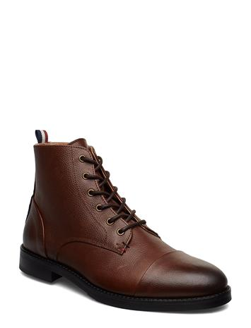 LINDBERGH Leather Boot With Zip Nyörisaappaat Ruskea LINDBERGH BROWN