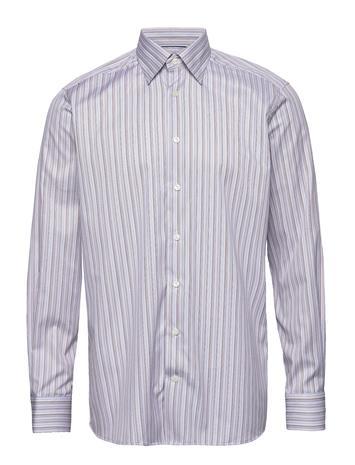 ETON Blue & Brown Fine Striped Twill Shirt Paita Bisnes Vaaleanpunainen ETON PINK/RED