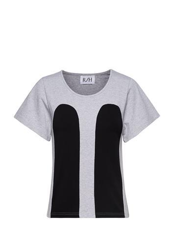 R/H STUDIO Mickey Tee T-shirts & Tops Short-sleeved Harmaa R/H STUDIO LIGHT GREY / BLACK