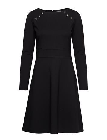 TAIFUN Dress Knitted Fabric Polvipituinen Mekko Musta TAIFUN BLACK