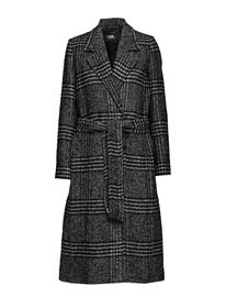 KARL LAGERFELD Tailored Check Coat Outerwear Coats Wool Coats Musta KARL LAGERFELD BLACK/WHITE