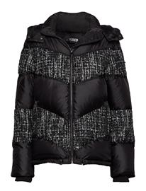 KARL LAGERFELD Boucle Mix Down Jacket Vuorillinen Takki Topattu Takki Musta KARL LAGERFELD BLACK