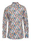 Eton Tennis Racket Flower Print Poplin Shirt BLUE