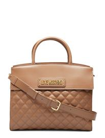 LOVE MOSCHINO BAGS New Shiny Quilted Bags Top Handle Bags Ruskea LOVE MOSCHINO BAGS CAMEL