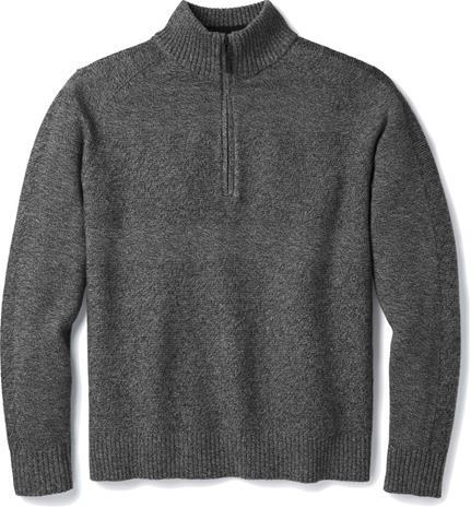 Smartwool Ripple Ridge Puolivetoketjullinen Villapaita Miehet, light gray heather-charcoal heather