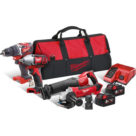 Milwaukee M18 CBLPP4B-502B (4933464814) 18V 2x5,0Ah (M18 CBLDD + HD18 AG-125 + M18 BIW12 + M18 BSX)