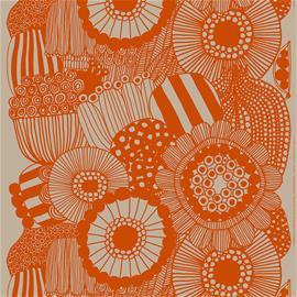 Marimekko Siirtolapuutarha pellavakangas, pellava - oranssi