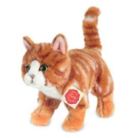 Teddy HERMANN® Kissa seisova punaisilla tiikerinraidoilla, 20 cm - punainen
