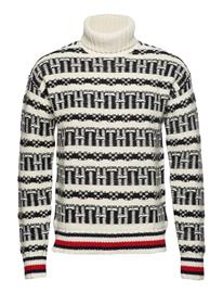 Tommy Hilfiger Over D Fairisle R Knitwear Turtlenecks Valkoinen Tommy Hilfiger WHISPER WHITE