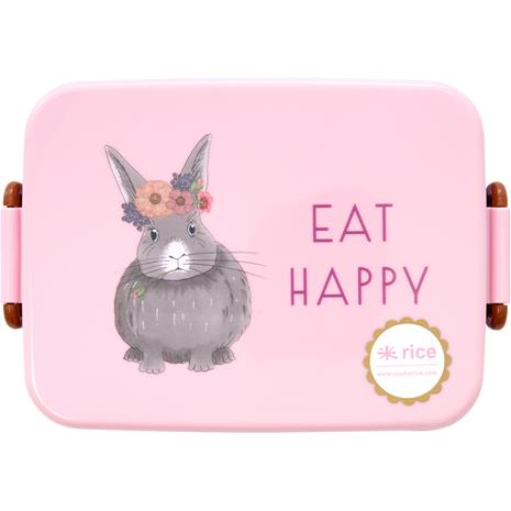 RICE Lunchbox with Dividers Farm Animals, Pink