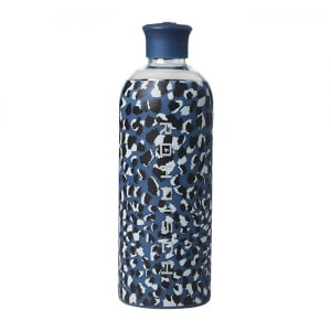 Glass Water Bottle, Dusty Blue Spot