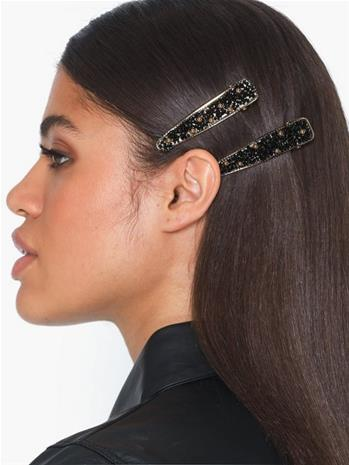 Only Onlcrocodile 2 Pack Hairclip Musta