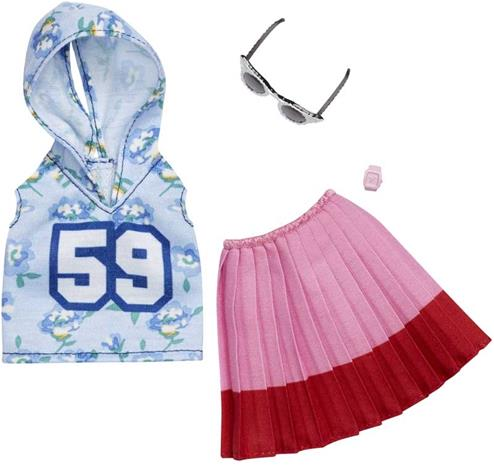 Barbie Fashion Night Outfit FXJ10, Blue Hoody, Pink Skirt and Glasses