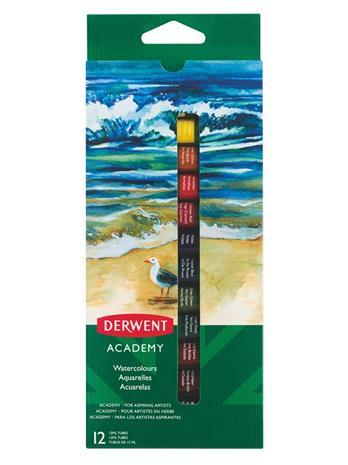 Derwent Academy -vesivärit, 12 ml, 12 kpl