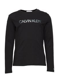 Calvin Klein Logo Foil Print Ls T-Shirt T-shirts Long-sleeved T-shirts Musta Calvin Klein CK BLACK