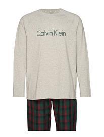Calvin Klein Woven L/S Pant Set Pyjama Harmaa Calvin Klein GREY HEATHER TOP/ RANGE PLAID