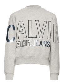 Calvin Klein Logo Foil Boxy Fit Sweatshirt Svetari Collegepaita Harmaa Calvin Klein LIGHT GREY HEATHER