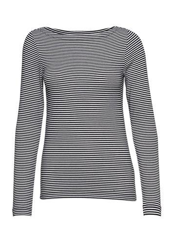 GAP Ls Mod Boat Str T-shirts & Tops Long-sleeved Musta GAP BLACK STRIPE