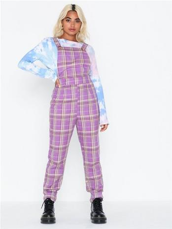 Missguided Check Purple Dungaree Jumpsuit