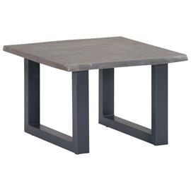 vidaXL Kahvipöytä kiinteä akaasiapuu ja rauta 60x60x40 cm harmaa