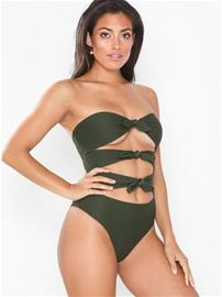 Missguided Crinkle Bandeau Bow Front Swimsuit
