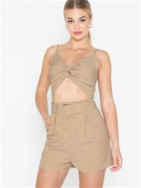 Missguided Twist Front Cut Belted Playsuit