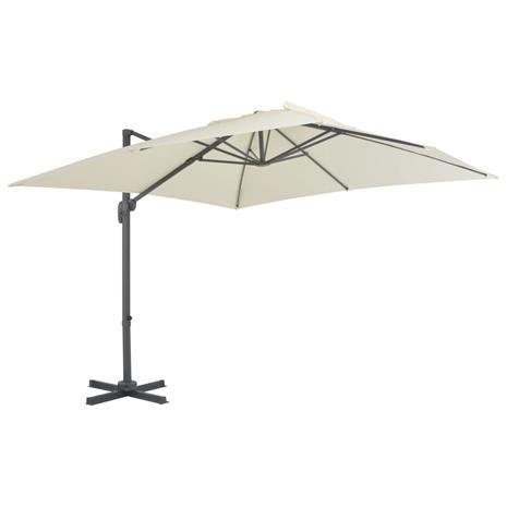 vidaXL Riippuva aurinkovarjo alumiinipylväällä 300x300 cm hiekka