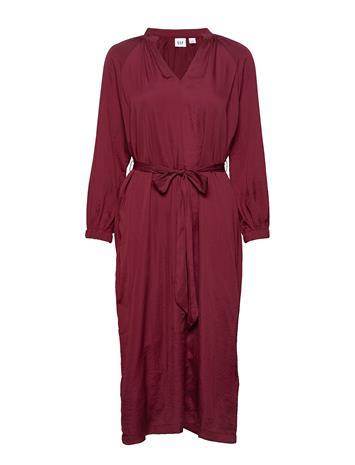 GAP Split-Neck Midi Dress Polvipituinen Mekko Harmaa GAP TRUE BLACK V2 2