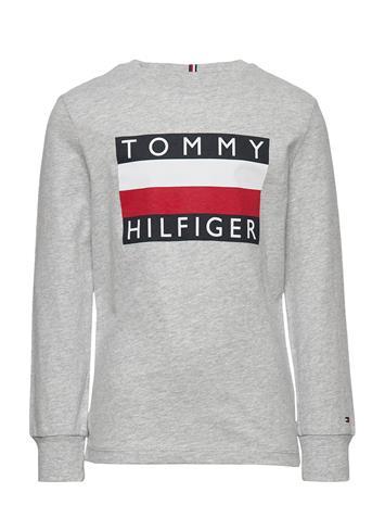 Tommy Hilfiger Essential Hilfiger Tee L/S Svetari Collegepaita Harmaa Tommy Hilfiger GREY HEATHER