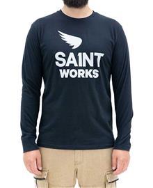 Sa1nt Works Logo Long Sleeve - Paita - Musta - S