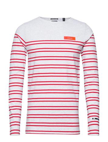 Scotch & Soda Breton In Engineered Stirpes And Boat Neck T-shirts Long-sleeved Punainen Scotch & Soda COMBO A