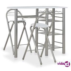 vidaXL 3-osainen baarikalusteryhmä hyllyillä puu ja teräs valkoinen, Ruokapöydät ja -tuolit
