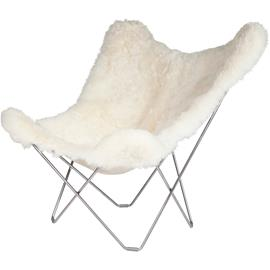 Cuero Iceland Mariposa BF Chair, Shorn White/Chrome
