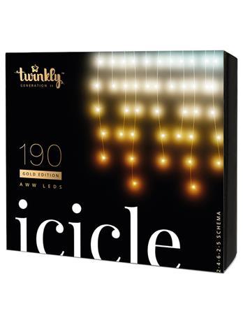 Twinkly Icicle Gold Edition 190 LEDs AWW, sovellusohjattava koristevalosarja IP44