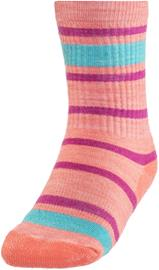 Smartwool Striped Hike Light Crew sukat Lapset, bright coral
