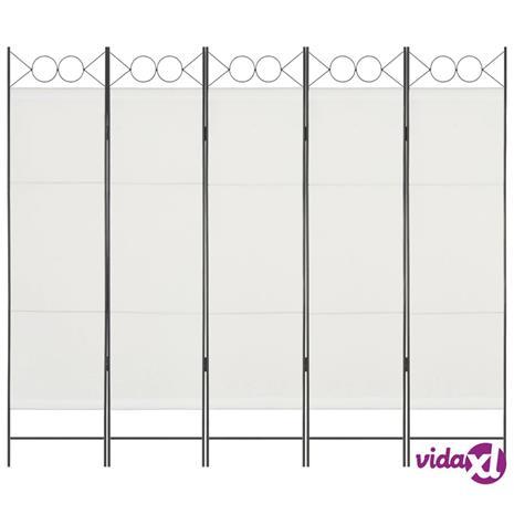 vidaXL 5-Paneelinen tilanjakaja 200x180 cm valkoinen