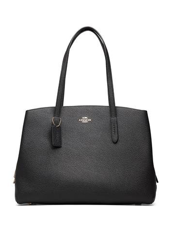 Coach Polished Pebble Leather Charlie 40 With Laptop Compartment Bags Shoppers Fashion Shoppers Musta Coach GD/BLACK
