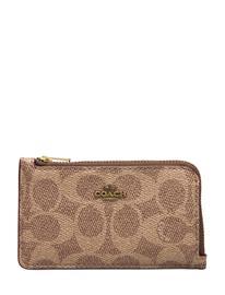 Coach Coated Canvas Signature Small L Zip Card Case Bags Card Holders & Wallets Card Holder Ruskea Coach B4/TAN RUST