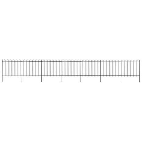 vidaXL Puutarha-aita kaarikärjillä 11,9x1,5 m teräs musta