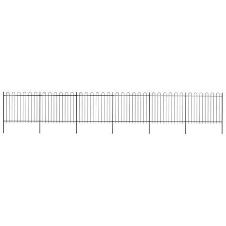 vidaXL Puutarha-aita kaarikärjillä 10,2x1,5 m teräs musta