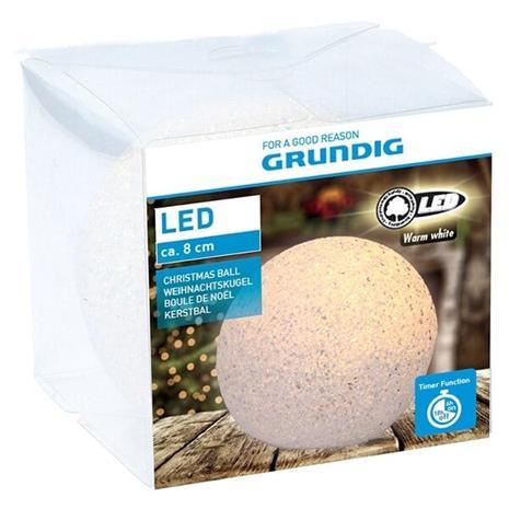 Grundig LED Snöboll 8cm, OrnamentStorageContainers