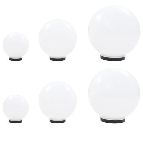 vidaXL LED-pallovalaisinsarja 6 kpl 20/30/40 cm akryyli