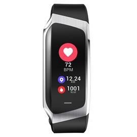 Aktivitetsarmband med blodtrycksmätare, för iPhone och Android, Svart