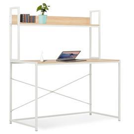 vidaXL Tietokonepöytä 120x60x138 cm valkoinen ja tammi